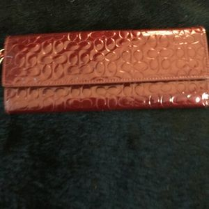 Coach Patent Leather Red CC Logo Clutch/Wristlet